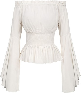 Belle Poque Renaissance Medieval Blouse Shirt Gothic Victorian Bell Sleeves Tops Ivory L