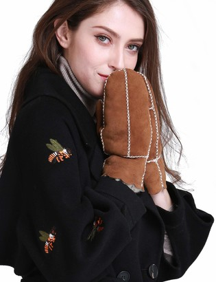 YISEVEN Women Merino Rugged Sheepskin Shearling Mitten Leather Gloves Sherpa Furry Cuff Thick Wool Lined Heated Warm for Winter Cold Weather Dress Driving gift Black L