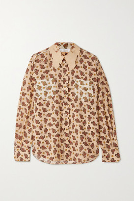 Chloé Embroidered Paisley-print Silk Crepe De Chine Shirt - Cream
