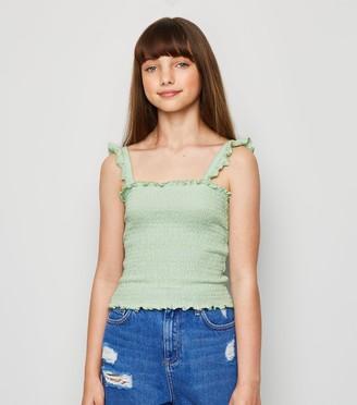 New Look Girls Light Shirred Frill Trim Cami