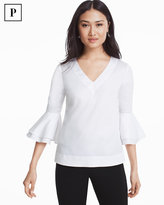 White House Black Market The Carmen Petite White Bell Sleeve Poplin Top