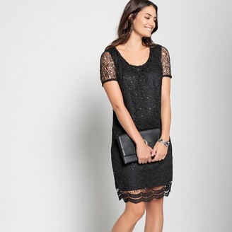 Anne Weyburn Straight Guipure Lace Diamante Dress