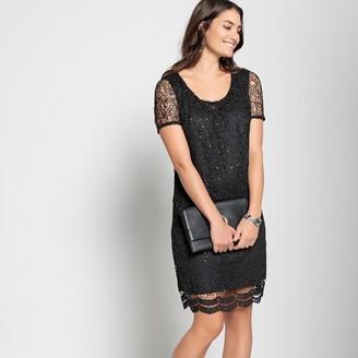 Anne Weyburn Straight Guipure Lace Diamante Dress