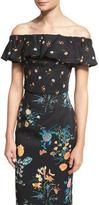 Rebecca Taylor Off-The-Shoulder Floral-Print Top, Black/Combo