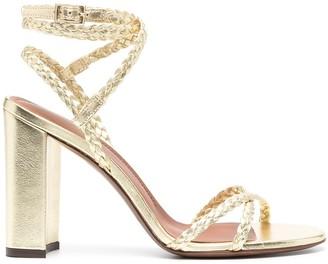L'Autre Chose Metallic Braided-Strap Sandals