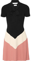 RED Valentino Pussy-bow Color-block Ribbed-knit Mini Dress - Black