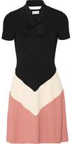 RED Valentino Pussy-bow Color-block Ribbed-knit Mini Dress - medium