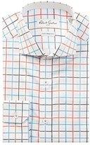 Robert Graham Men's Trim Fit Windowpane Spread Collar Dress Shirt