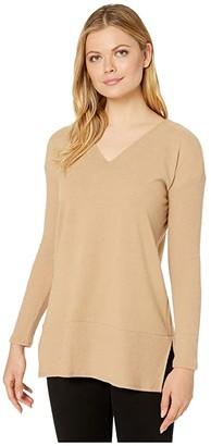 Vince Camuto Long Rib Sleeve V-Neck Cozy Tunic (Latte) Women's Clothing