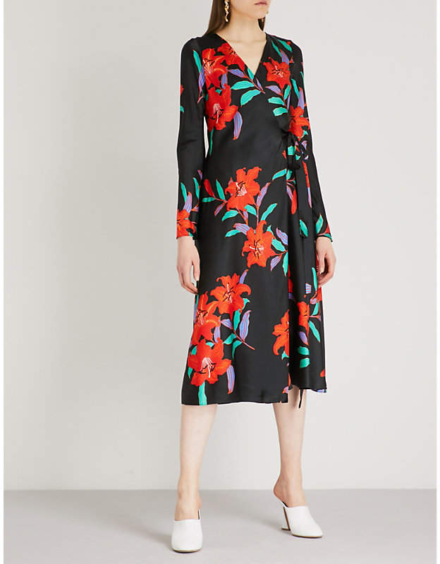 Diane von Furstenberg Wrap-over silk midi dress