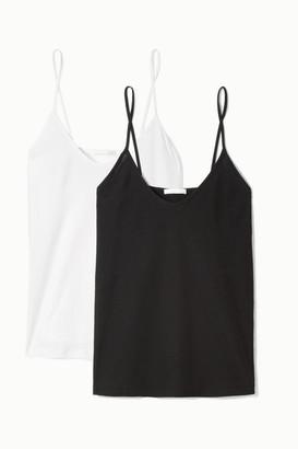 Skin Essentials Set Of Two Pima Cotton-jersey Camisoles - Black