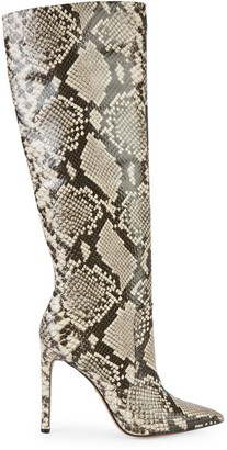 Kenneth Cole New York Riley Snakeskin-Printed Leather Knee-High Boots