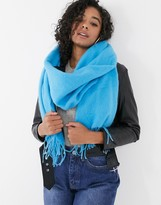 Asos Design DESIGN supersoft long woven scarf with tassels in cyan blue