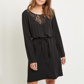 Vila Long-Sleeved Dress with Lacy V-Neck