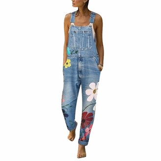 Canifon Women's Jeans Denim Elasticated Long Jeggings Printed Overalls Ethnic Bib Butt Lifting Trousers Casual Pants
