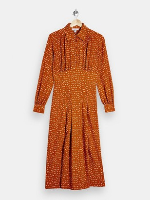 Topshop Split Front Shirt Dress -Rust