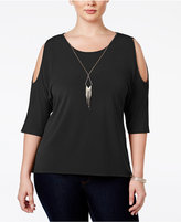 NY Collection Plus Size Cold-Shoulder Necklace Top