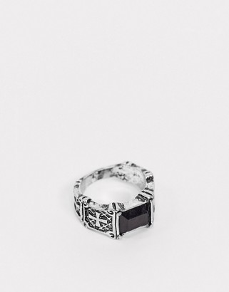 Reclaimed Vintage inspired ring with black stone in black