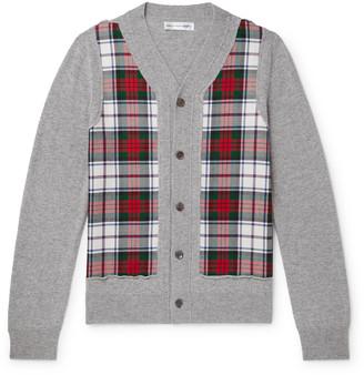 Comme des Garçons Shirt Slim-Fit Check-Panelled Melange Wool Cardigan