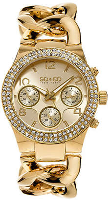 So & Co SO & CO NY Womens Soho Gold-Tone Stainless Steel Bracelet Crystal Studded Bezel Dress Quartz Watch J155P13 Family