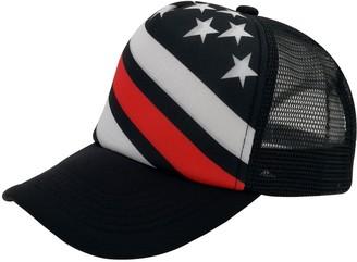 oriental spring Unisex Sublimated Print Baseball Trucker Caps Mesh Hat Adjustable Snap Back 5 Panel Hat (Oblique Stripes and Stars)