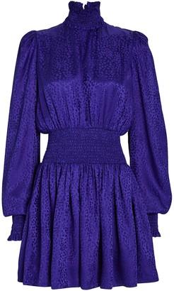 Balmain Leopard Silk Jacquard Mini Dress