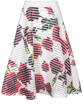 Quiz White Red And Green Floral Print Skater Skirt