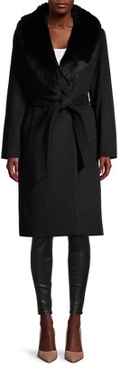 Sofia Cashmere Fox Fur-Collar Wool-Blend Midi Coat