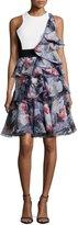 Prabal Gurung Sleeveless Ruffle Dress W/Cutouts, Bright Pink