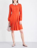 Valentino Sequin-collar fit-and-flare silk-crepe de chine dress