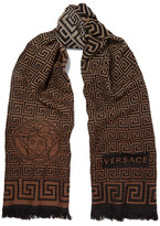 Versace Fringed Intarsia-Knit Wool Scarf
