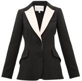 Carolina Herrera Contrast-lapel Single-breasted Wool-blend Jacket - Womens - Black Multi