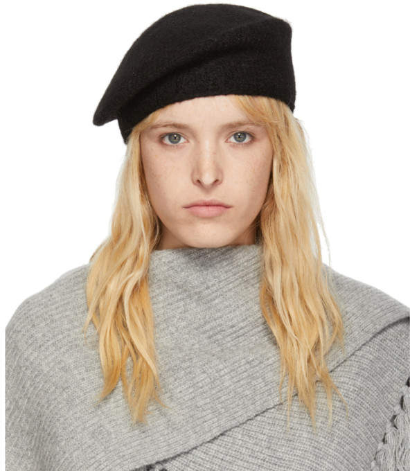 LAUREN MANOOGIAN SSENSE Exclusive Black Alpaca Beret