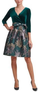 Jessica Howard Velvet & Jacquard Fit & Flare Dress