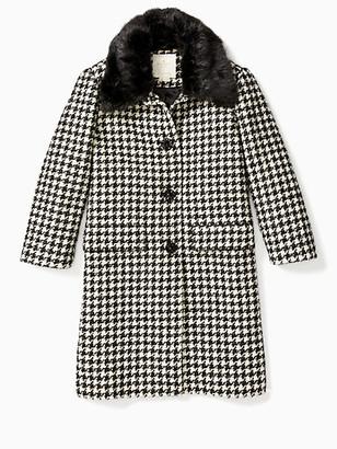 Kate Spade Dashing Beauty Faux Fur Houndstooth Coat