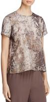 Eileen Fisher Printed Round Neck Silk Top