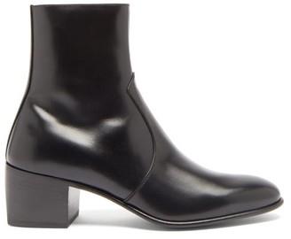 Saint Laurent James Block-heel Leather Ankle Boots - Black
