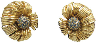 One Kings Lane Vintage Articulated Goldtone Flower Earrings - Thanks for the Memories