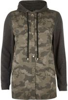 River Island Womens Green camo hooded shacket