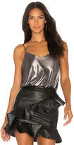 Free People Foil Babes Bodysuit in Metallic Silver. - size L (also in M,S,XS)
