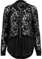 River Island Womens Black lace woven hem bomber jacket