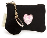 Bow & Drape Heart Mini Pouch With Key Ring - Black