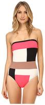 Kate Spade Mykonos Color Block Bandeau Maillot w/ Removable Soft Cups & Strap