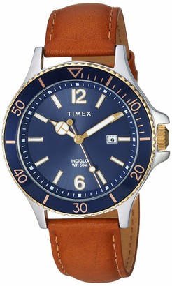 Timex Men's TW2R64400 Harborside Black Leather Strap Watch
