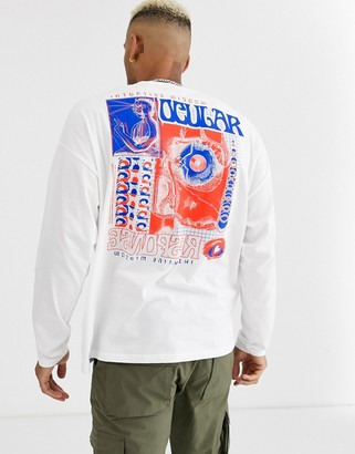 Asos Design DESIGN oversized long sleeve t-shirt with abstract body and sleeve print-White