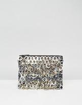 Asos Ring Embellishment Zip Top Clutch Bag