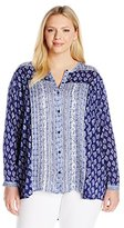 Lucky Brand Women's Plus-Size Mix Print Top