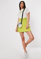 Missguided Lime Cargo Paperbag Belt Skirt
