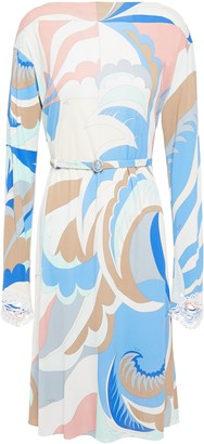 Emilio Pucci Belted Embellished Printed Jersey Dress
