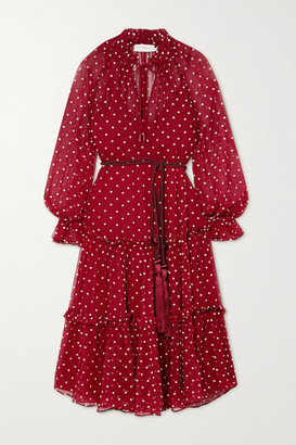 Zimmermann Ladybeetle Belted Ruffled Polka-dot Silk-chiffon Midi Dress - Burgundy
